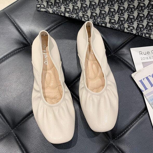 Giày Gấp Bà Phụ Nữ 2020 Xuân Hè Mới Hàn Quốc Hoang Dã Nhẹ Nhàng Gió Mềm Mại Giày Da Đế Vuông Giày Đế Mềm giá rẻ