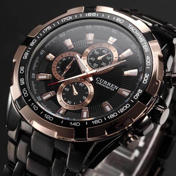 (100% Original) CURREN Men Fashion Watches Quartz Waterproof Watch Stainless Steel Top Brand Luxury Military Sports Wristwatches 8023 Jam Malaysia