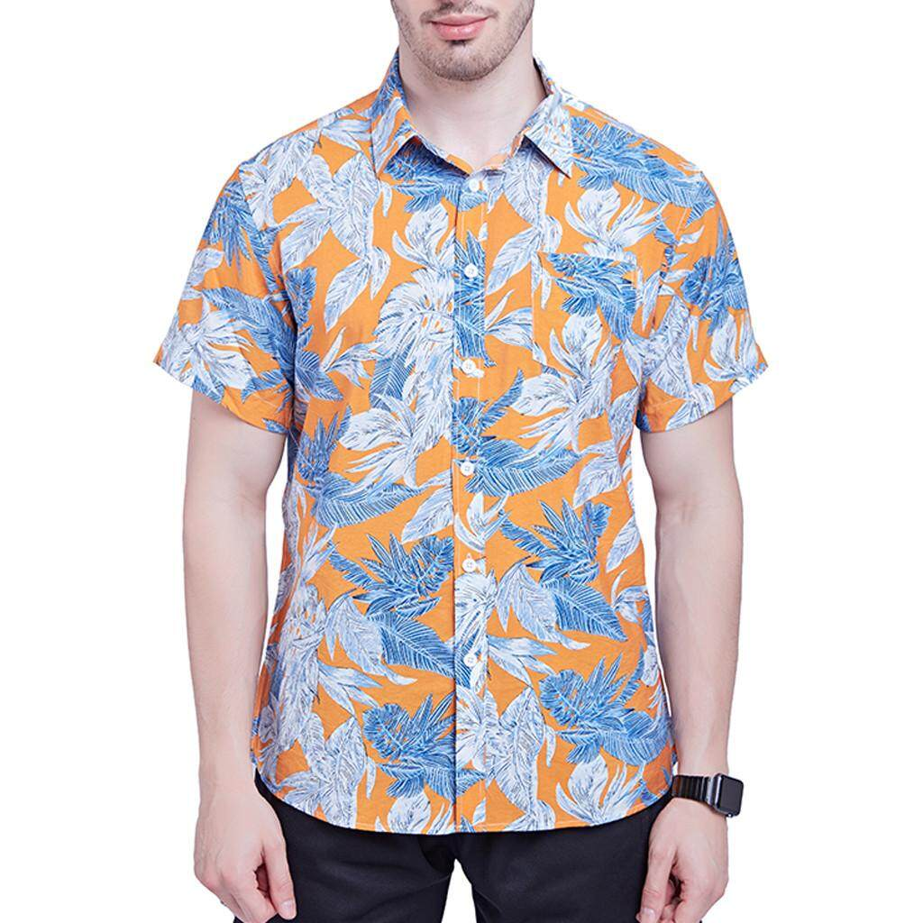 9fa591a53eb beautier Men s New Short Sleeves Of Beach Wind Printing Fashion Cotton  Short Sleeve Top