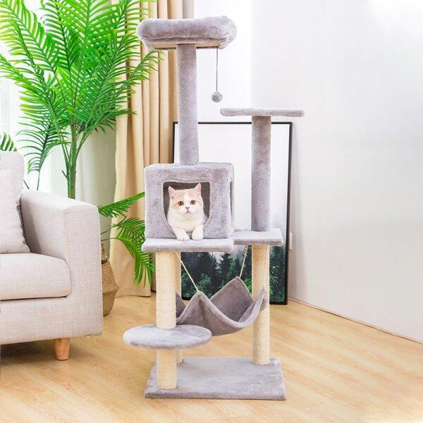 Nhà Cây Mèo Thú Cưng Nhà Khung Cho Mèo Leo Núi Có Bóng Treo Khung Leo Núi Chung Cư Cho Mèo Có Võng, Bàn Mèo Đồ Chơi Cho Mèo Cưng