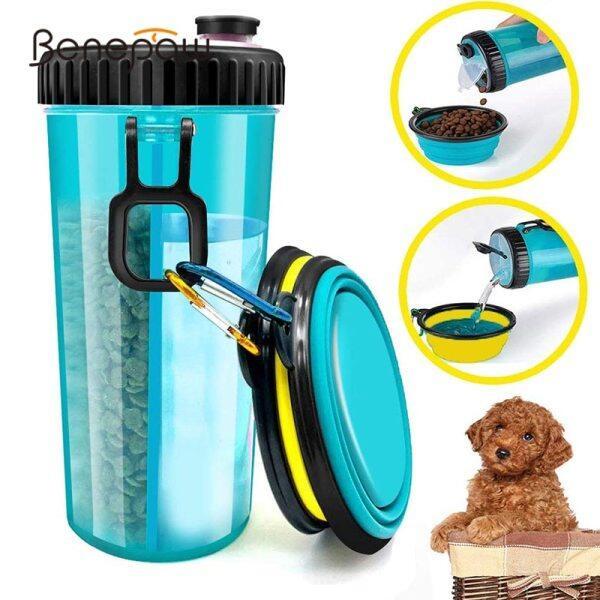 Chai Nước uống thức ăn cho chó benepaw 2 trong 1, 2 bát có thể gập lại, không độc hại, dễ mang theo, chống rò rỉ, cho thú cưng