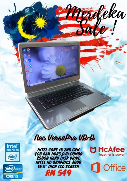 (Refurbished) Nec VersaPro VD-D Laptop/ 4GB Ram DDR3/ 250 HDD/15.6 LCD SCREEN / GRADE A Malaysia