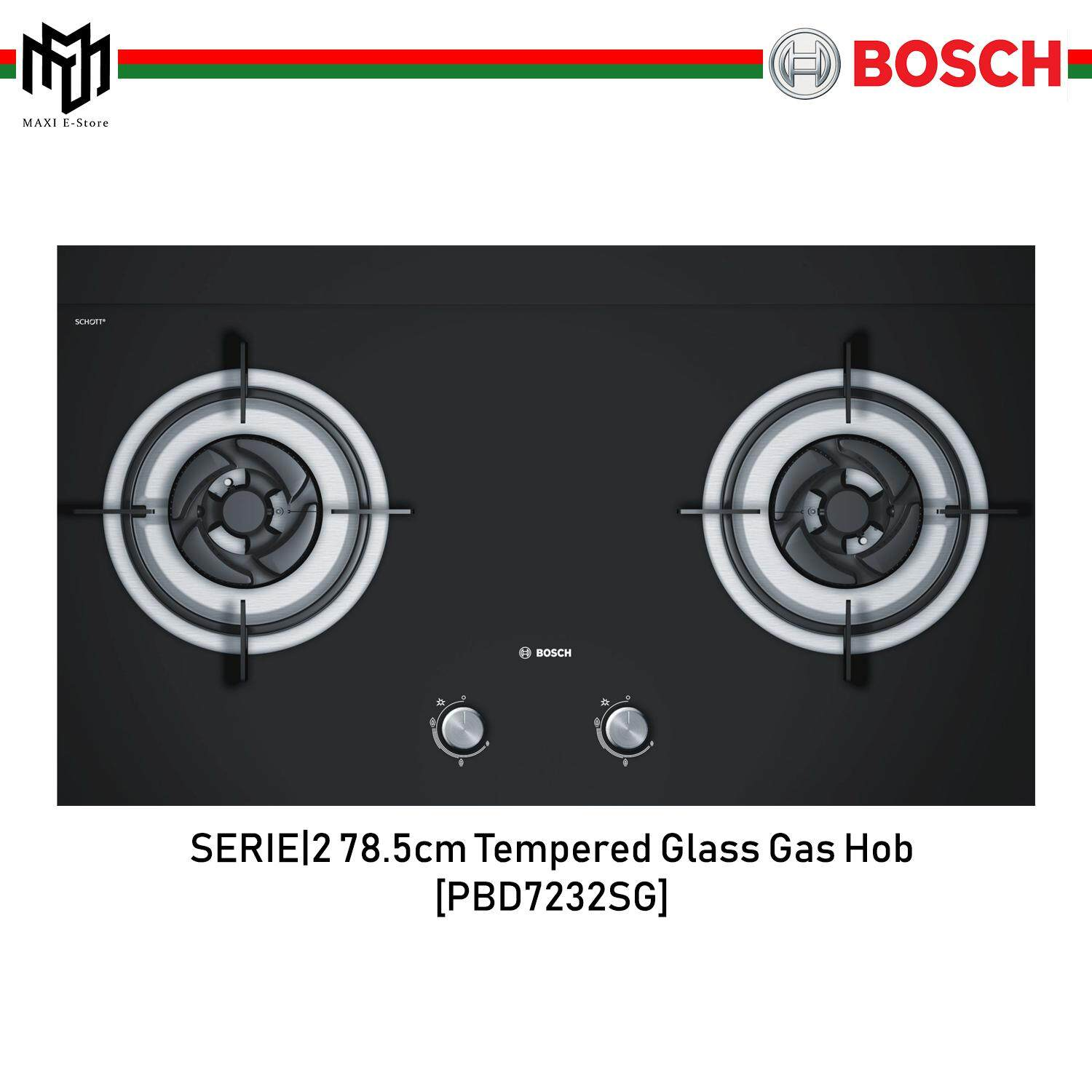 Bosch Serie 2 78 5cm Built In Tempered Gl Gas Hob 4 5kw
