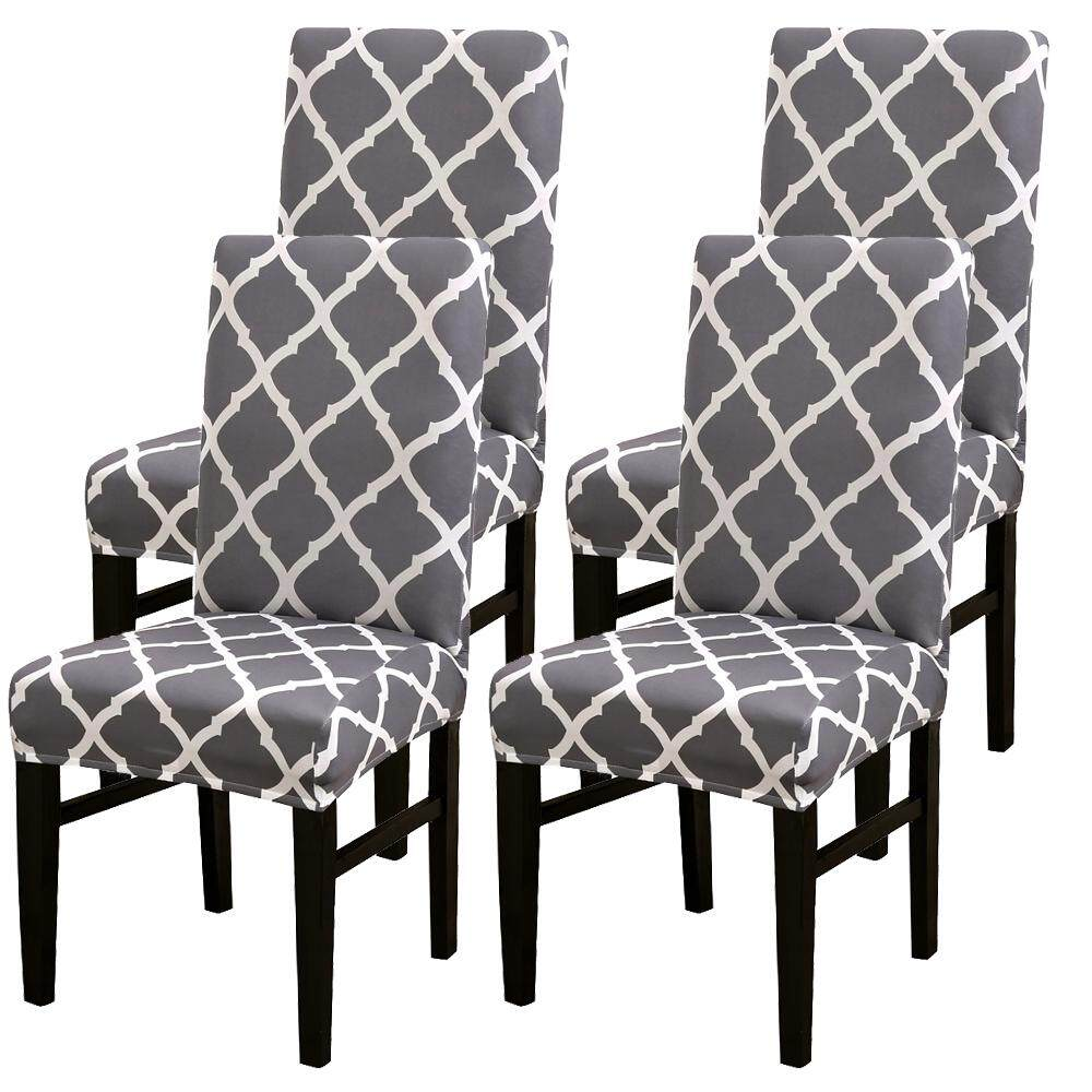 4Pcs Grey Stretch Dining Chair Covers Slipcovers Universal Fitting Chair  Protective Covers-4pc