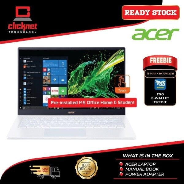 "ACER SWIFT 5 SF514-54GT-53FE (I5-1035G1, 8GB, 512GB SSD, MX350 2GB, 14"" FHD IPS Touch, WHITE-W10H H&S) Malaysia"