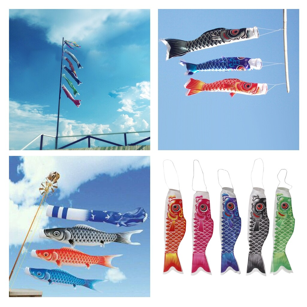 5x Japanese Windsock Carp Flag Koi Nobori Sailfish Wind Streamer Decor 70cm