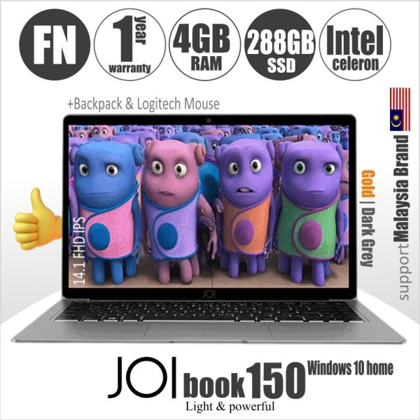 JOI Book 150 + Free 150GB Hosting + Logitech Mouse + Backpack (Intel Celeron N4100 quad-core; 4GB RAM  32GB+256GB eMMC  14.1 FHD IPS) Malaysia