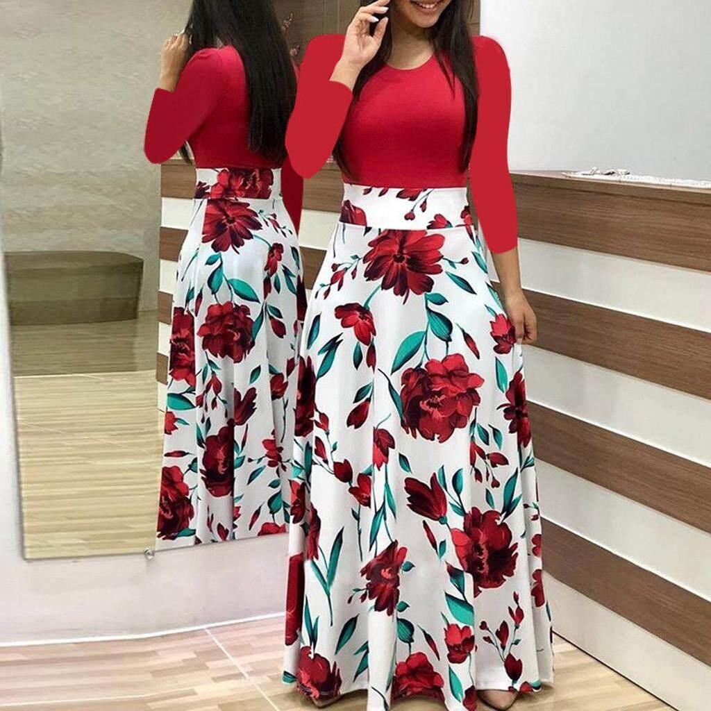 Wanita Gaun Gaya Korea Fashion Wanita Lengan Panjang Bermotif