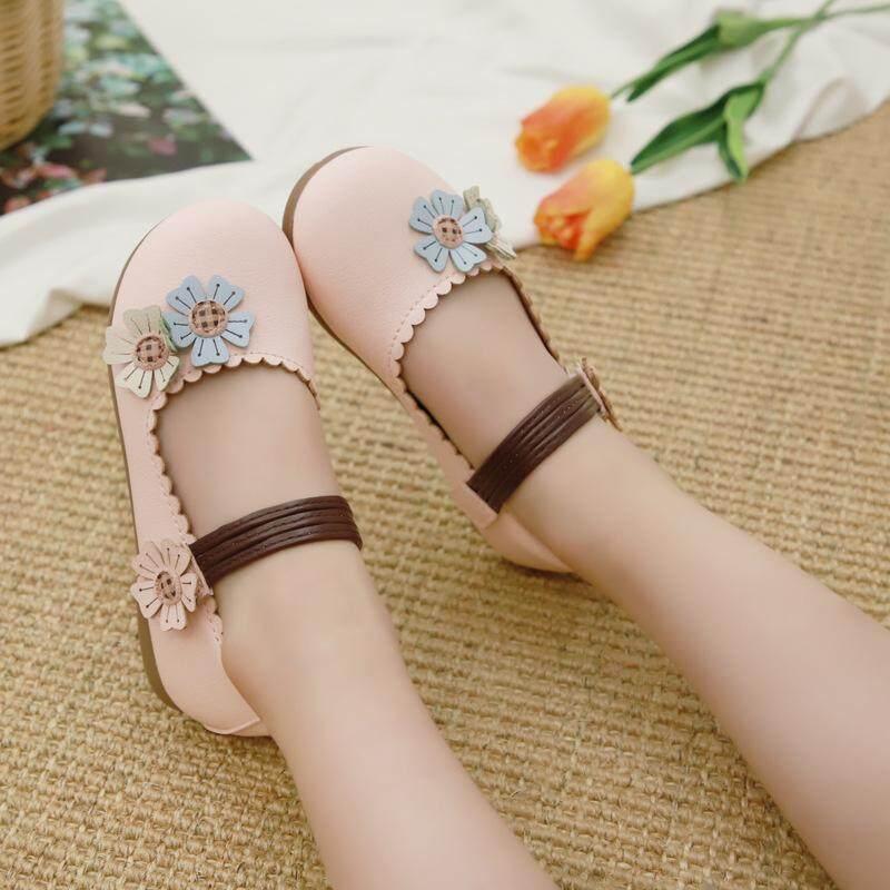 OEMGirls Da 2019 Thu Phong Cách Mới theo phong cách Hàn Quốc Trẻ Em Đế Mềm Hoa Giày Công Chúa Bé Gái Đậu Hà Lan Giày Cho Bé giày