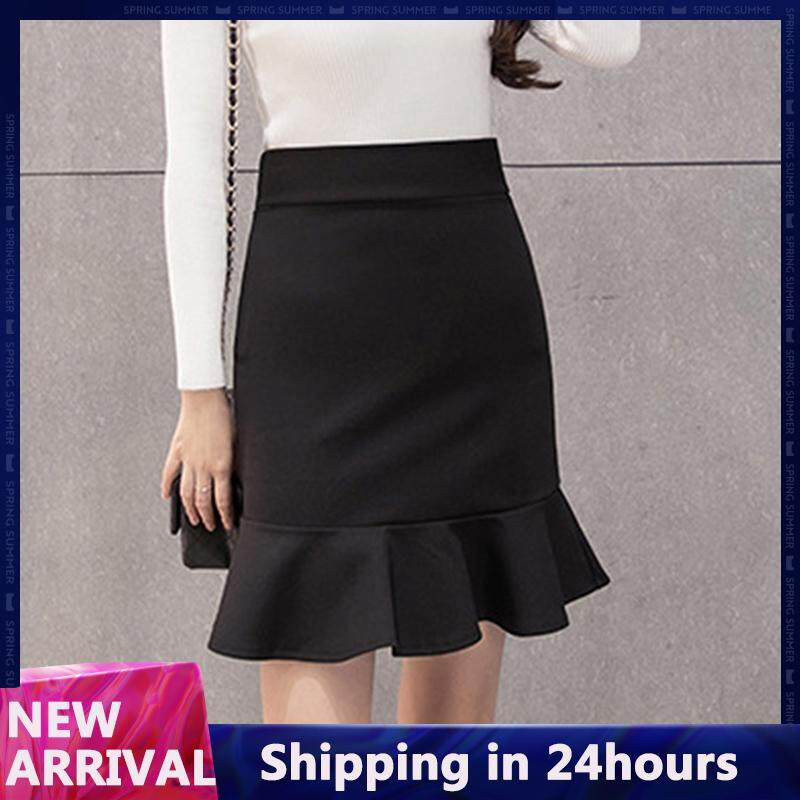a6e390a2ed9e9 Fashion Women Lady Summer Casual Trumpet Skirt Solid Color Ruffled Skirt  for Female