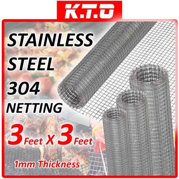 1 ROLL 1MM x 3FEET x 3FEET STAINLESS STEEL NETTING 304 SUS304 MESH WIRE BARBECUE BBQ / JARING BBQ