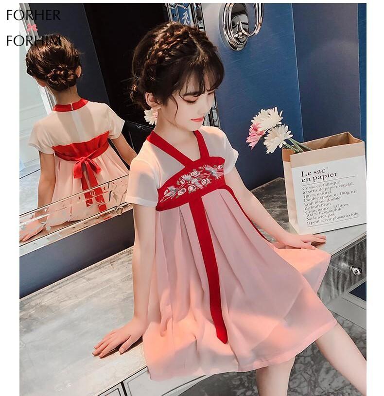 Offer Giảm Giá Váy Đầm Mùa Hè Cho Bé Gái FORHER, Váy Thời Trang Trẻ Em Trung Quốc, Dài Và Vừa, Phong Cách Cổ Tích Trung Quốc, 2020, Hanfu KE200120