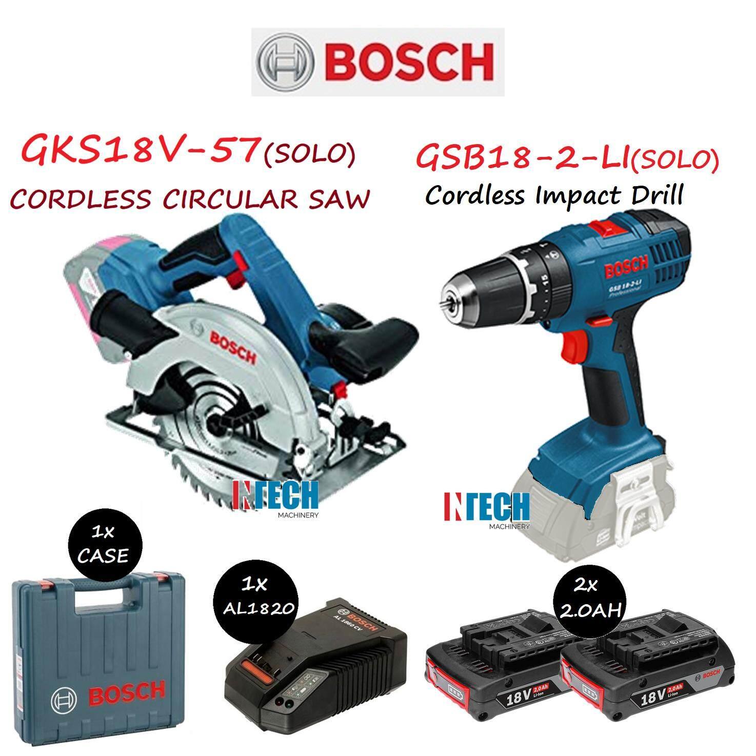 BOSCH GSB18-2-LI CORDLESS IMPACT DRILL  + GKS18V-57(SOLO) CORDLESS CIRCULAR SAW