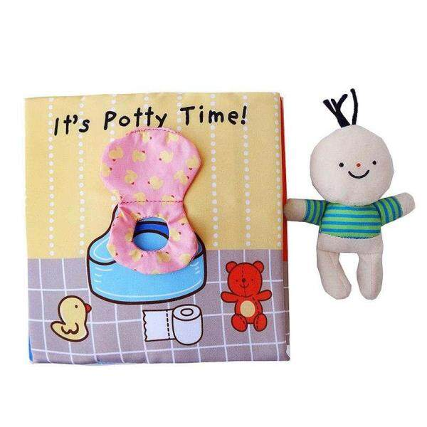Baby Infant Soft Fabric Cloth Book Toddler Touch and Feel Development Quiet Book to Teach Baby How to Potty Activity Book