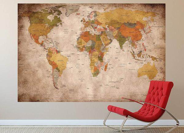 3D Wallpaper Vinyl Wall Sticker Retro World Map Painting Living Room Sofa TV Background Luxury Decor Wall paper