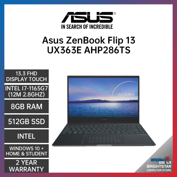 ASUS ZenBook UX363E Laptop (13.3 Inch FHD Touch Screen | Intel Core | I7-1165G7 (12M 2.8GHZ) | 8GB RAM | Intel Graphic | Windows 10 + Microsoft Office Home & Student | 2 Years Warranty) Malaysia