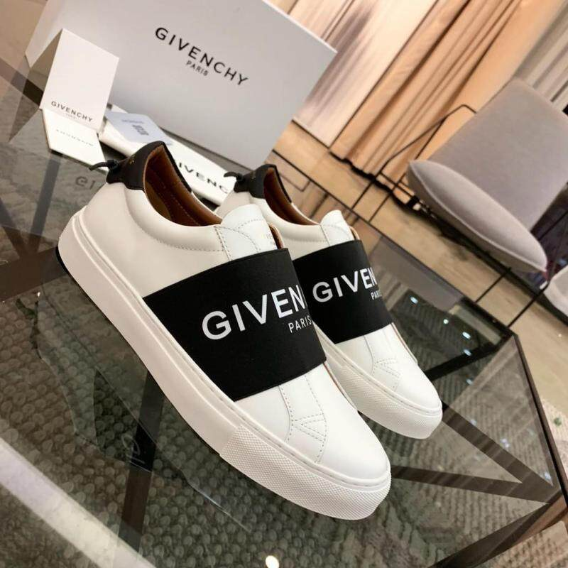 100% _ Original_Givenchy_Paris_White & Black_Men_Slip_On_Shoes