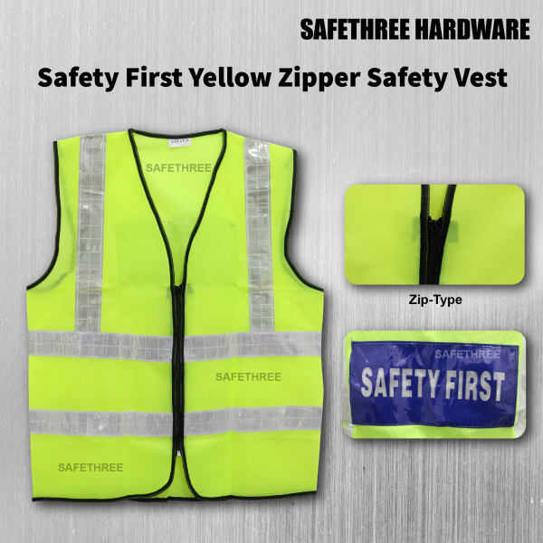 Safety First Yellow Safety Vest With Four Line Visible Reflective Line - Zip Type (Unisex Man Women)