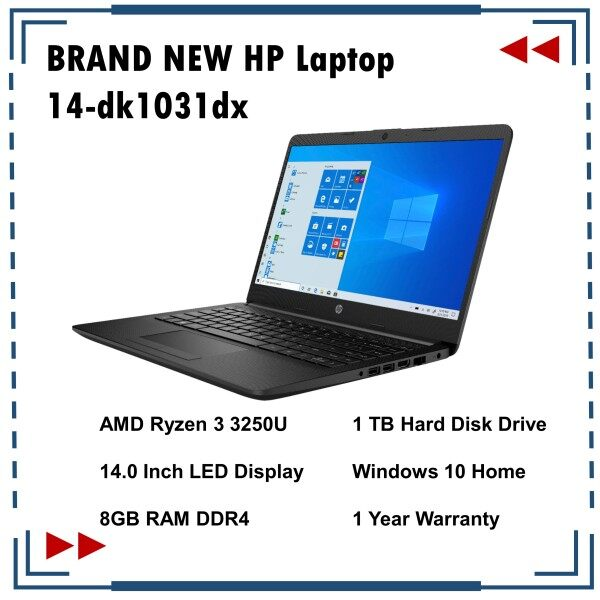 BRAND NEW HP Laptop 14-dk1031dx AMD Ryzen 3 3250U 1TB HDD 8GB RAM 14 Inch Screen Malaysia