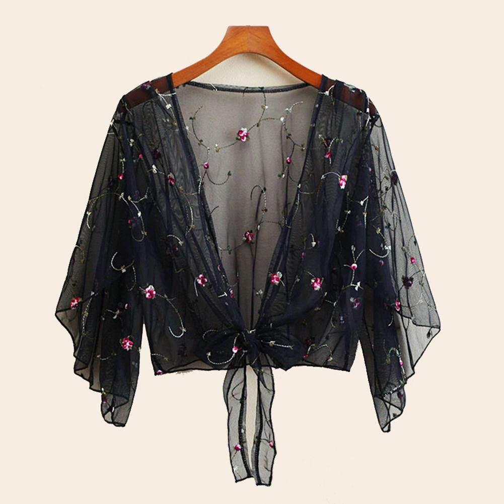 e63a588c0da69 [comebuy88] Womens Lace Embroidery Bikini Beach Wear Mesh Sheer Cover Up  Ladies Blouse