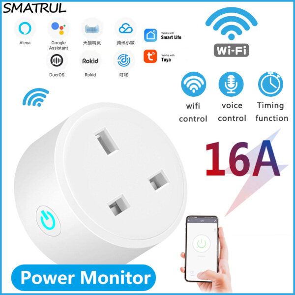 SMATRUL Smart Wifi Plug wifi Socket Switch Power monitor Remote Control WiFi Sockets Compatible with Alexa Google Home Assistant UK Plug