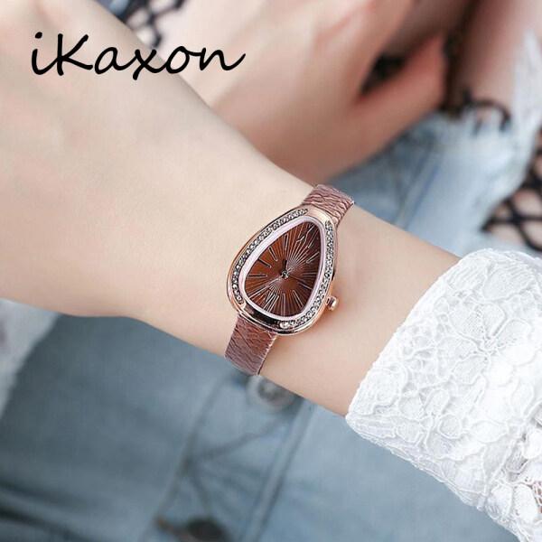 IKAXON Korea Triangle Dial Women Casual Quartz Watches Lady Rose Gold Leather Strap Malaysia