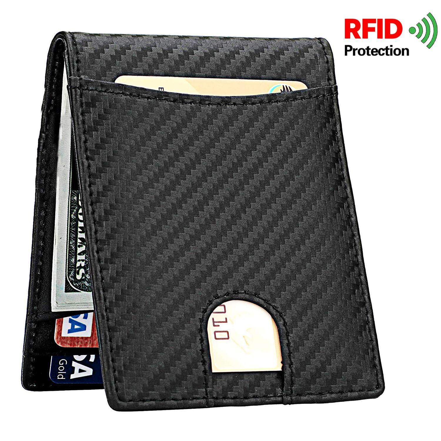 Genuine Leather Mens Wallet, RFID Blocking Carbon Fiber ID Wallet Slim Credit Card Holder Minimalist by SLGOL-direct