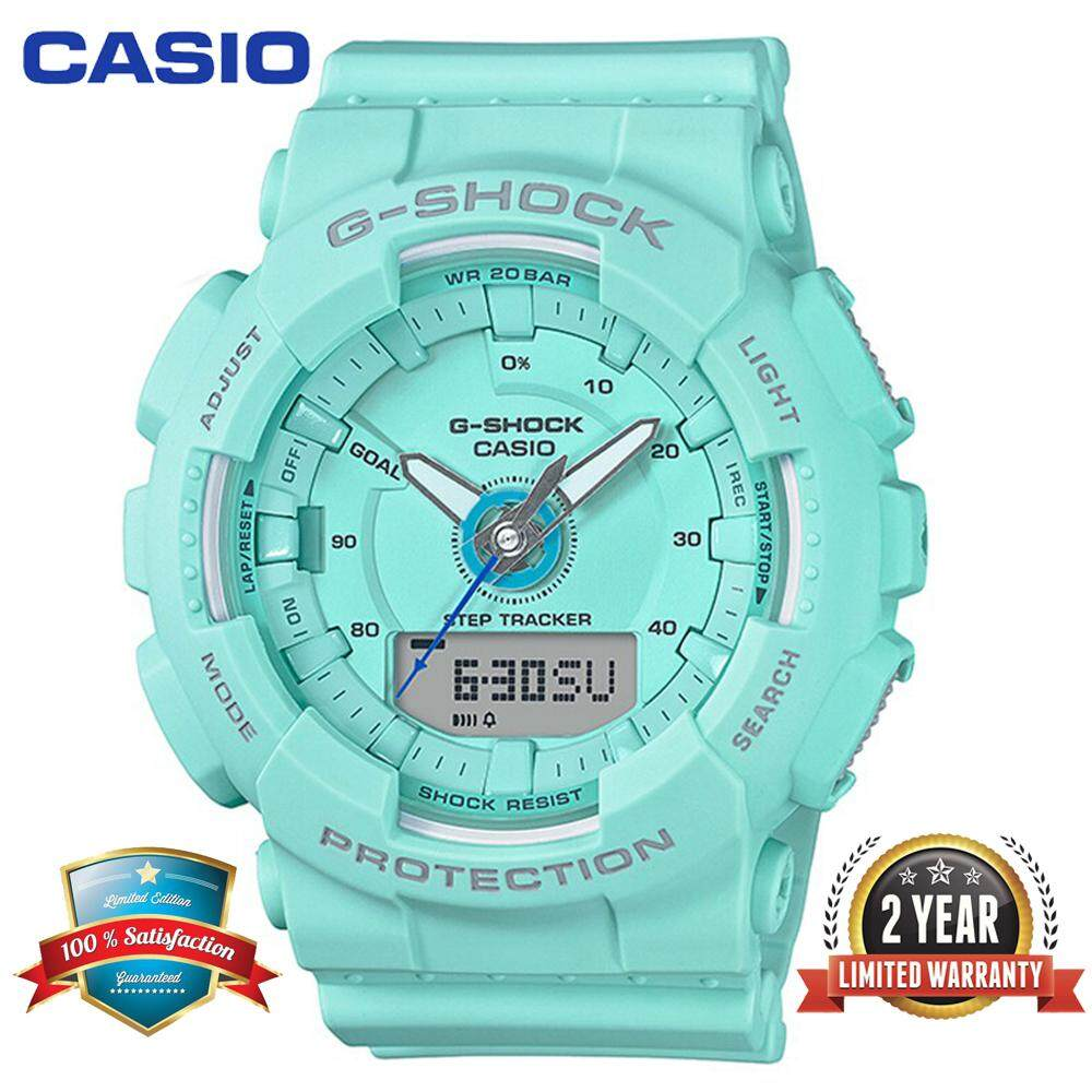 (Ready Stock)Original Casio G Shock_GMAS130 Sport Watch Duo W/Time 200M Water Resistant Shockproof and Waterproof World Time Pedometer Stept Counter Sports Watch LED Auto Light Wist Sport Watches with 2 Year Warranty GMAS130/GMA-S130 Malaysia