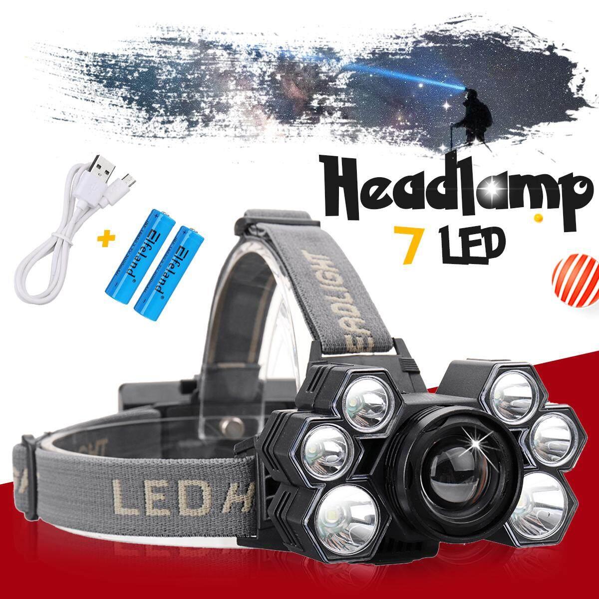 【การจัดส่ง + แฟลช Deal】Headlight 60000lm ไฟฉายคาดหัวชาร์จได้ยูเอสบี 3 * T6 + 4 * Q5 LED ไฟฉายคาดศีรษะซูมไฟฉายตกปลาพกพาหัวตัดแก๊ส LIGHT 18650 แบตเตอรี่