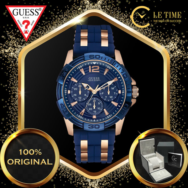 [Authentic] Guess Masculine Multi Function Chronograph Rose Gold Plated Silicone Strap Quartz Sport Men Watch Jam Tangan Lelaki W0366G4 Malaysia