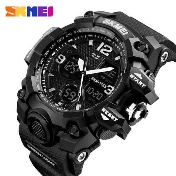 SKMEI sports watch mens waterproof double display mens 55MM large dial sports watch LED digital analog multi-function watch male fashion relogio masculino Malaysia