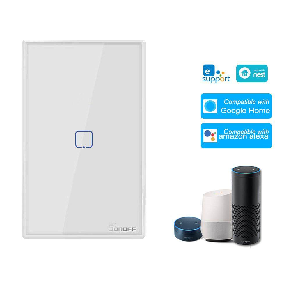 SONOFF T0US3C-TX 3 Gang Công tắc đèn tường thông minh WiFi / Hẹn giờ điều khiển cảm ứng Bảng điều khiển tiêu chuẩn Hoa Kỳ Công tắc thông minh Tương thích với Google Home / Nest & Alexa