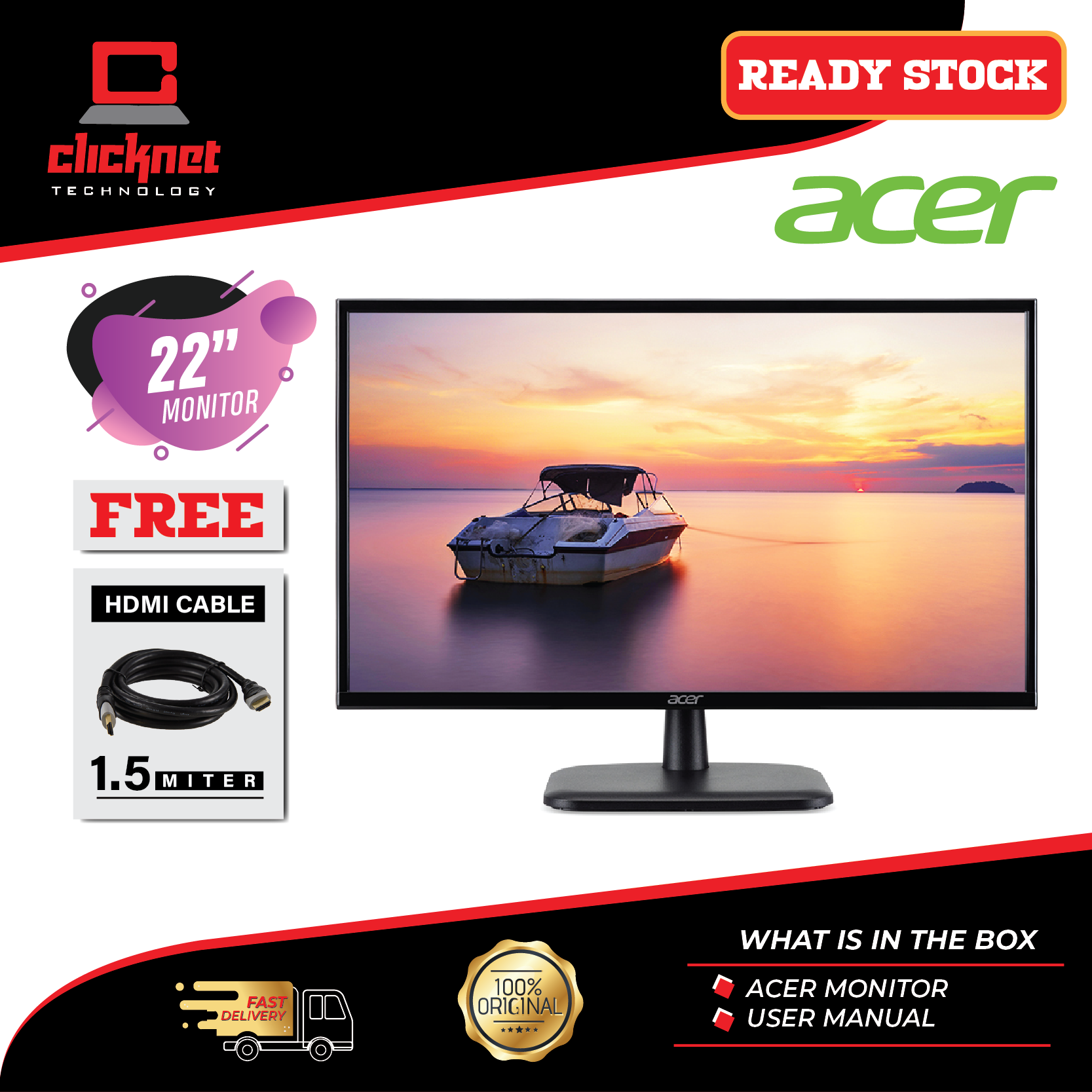 Acer 22-inch Monitor EK220Q A Full HD (1920 x1080) LED Black (HDMI, VGA Port, 75Hz) Malaysia