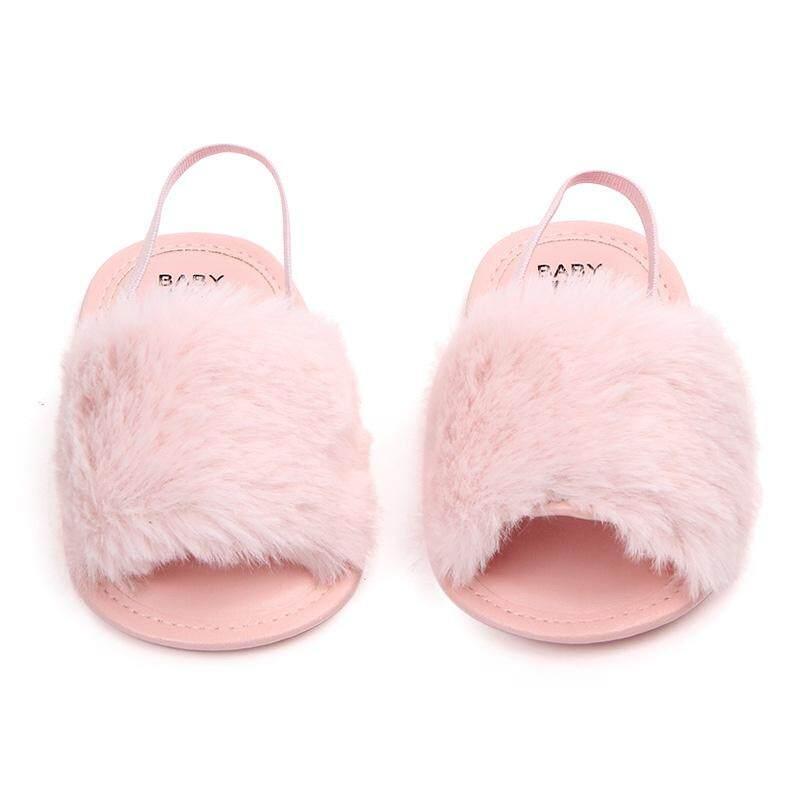 06c12983c2 Baby Infant Girls Soft Sole Shoes Plush Slide Sandal First Walkers  Anti-slip Walking Shoes