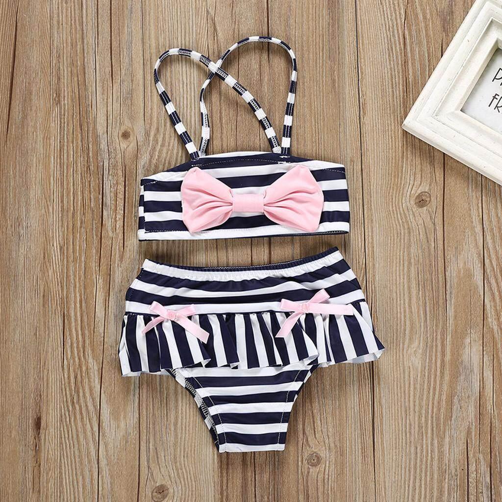 bffc6ead56ce Babysmikee Summer Toddler Kids Baby Girls Stripe Bowknot Swimwear Swimsuit  Bikini Outfits