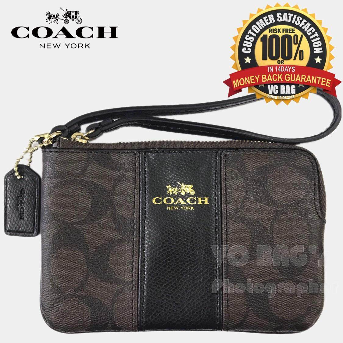 COACH F64233 Corner Zip Wristlet in Signature Coated Canvas with Leather Bag   Gold Brown 17dbc9c2c6
