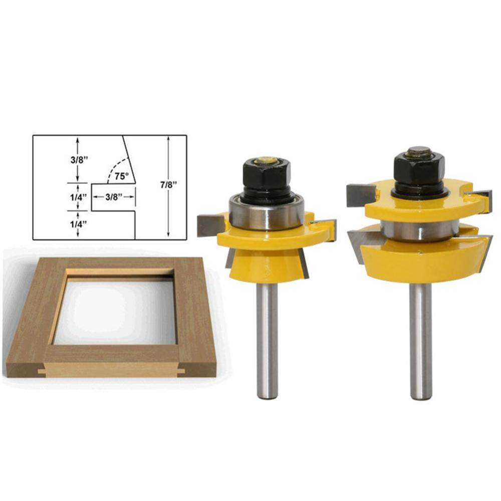 [huangjuying]2pcs 1/4 Inch Shank Shaker Bevel Rail And Stile Router Bit Milling Cutter