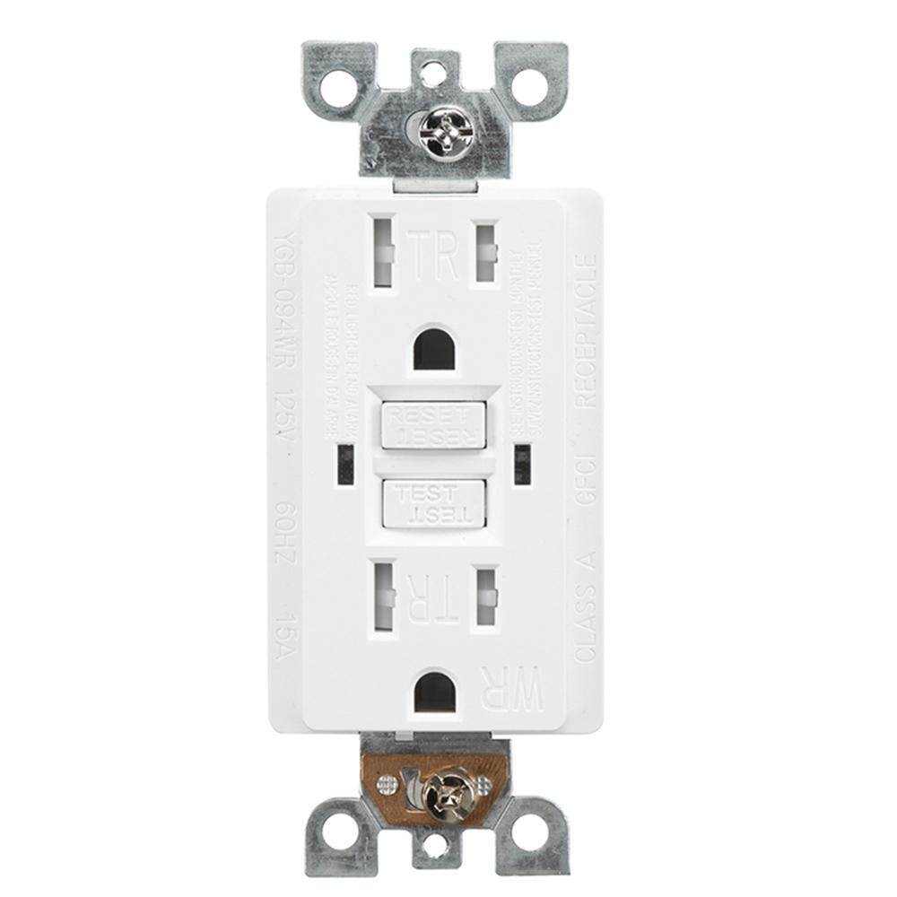 YGB-094WR Household US Wall Sockets TR 15A 2LED GFCI Outlet Wall Receptacle Tamper Resistant Automatic Monitoring US Plug