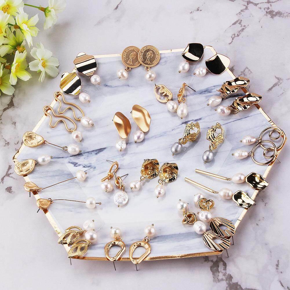 Irregular Flower Dangle Drop Freshwater Pearl Earrings Metal Gold Statement