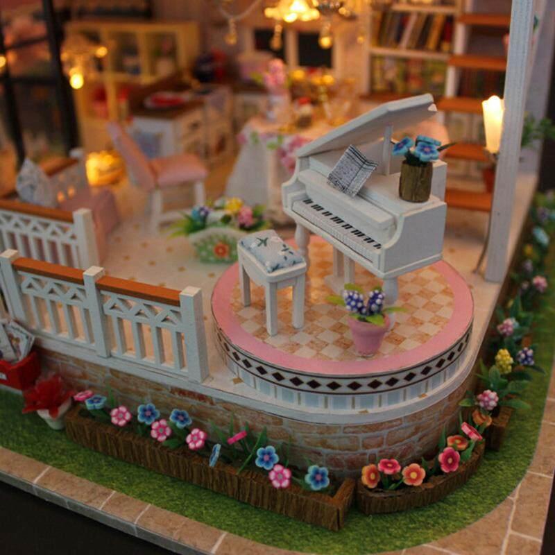 DIY LED Light Wooden Doll House Toy Villa Miniatures Furniture Kit Xmas Gift !