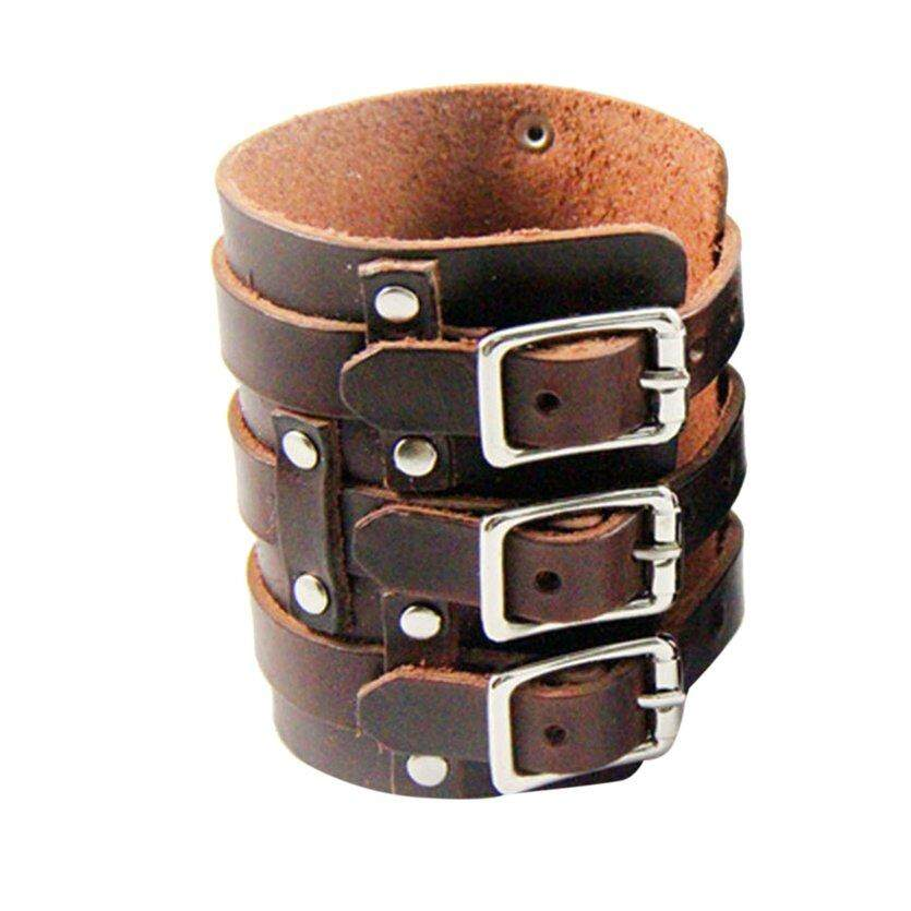 TOP Personalized Leather Bracer Punk Style Armband Cuff Three Buckles Wrist