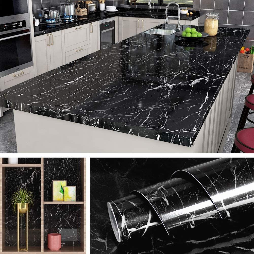 Black Marble Contact Paper Waterproof Self-Adhesive Wallpaper Sticker