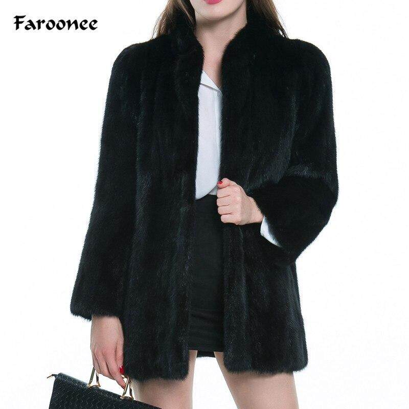 3750609955 Thicken Warmer Black Fur Coat Jacket Women Winter Long Sleeve Casual  Overcoat Elegant Soft Faux Fur