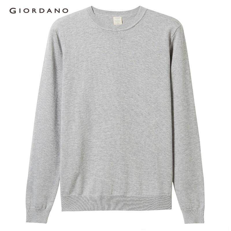 165aa1634 Giordano Women Sweaters Knitwear Cotton Ladies' Clothes Solid Long Sleeves  Ribbed O-neck Casual Stylish Free Shipping 05359870
