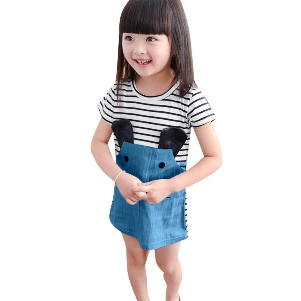 d3e1d55bf3 Cute Children Girls Short Sleeve Stripe Splicing Cartoon Mouse Dress Clothes