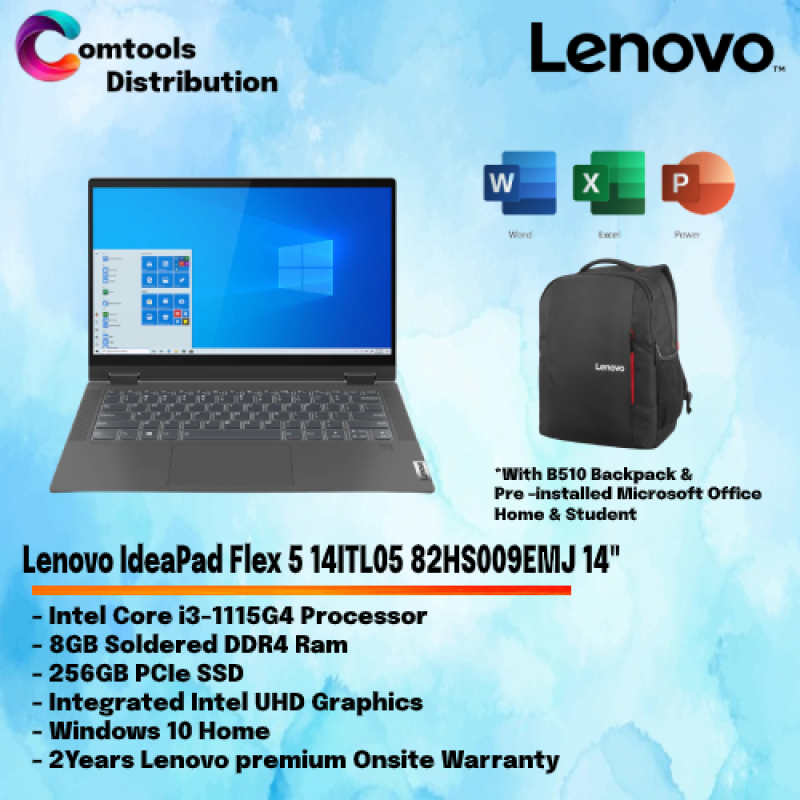 Lenovo IdeaPad Flex 5 14ITL05 82HS009EMJ 14 Laptop/ Notebook (i3-1115G4, 8GB, 256GB, Integrated, W10H, Off H&S, Touchscreen, Pen) Malaysia