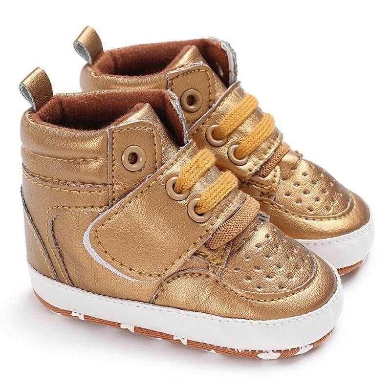 Newborn Sneakers High Top Solid Infant Toddler Antislip Prewalker Crib Shoes