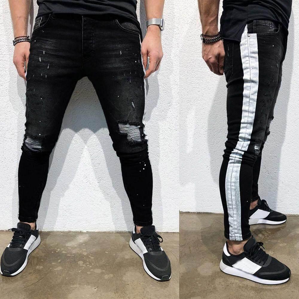 Men Stylish Denim Skinny Stretch Pant Distressed Ripped Slim Fit Jeans Trousers