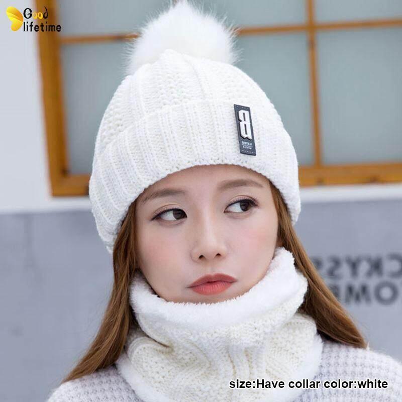 Glt ผู้หญิงฤดูหนาวถักหนา Beanie หมวกผ้าพันคอหมวก Warm Hairball Baggy หมวกฤดูหนาว By Goodlifetime.