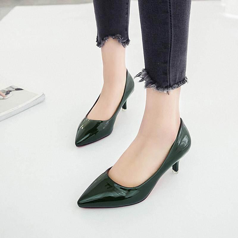 10e534503b Big Size 35-42 Women Medium Heels Shoes Patent Leather Pumps Pointed Toe  Woman Dress